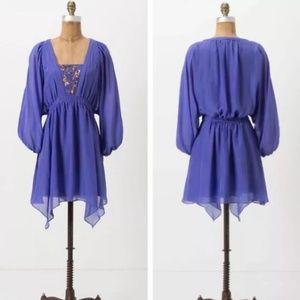 Leifsdottir Kelwa Purple Silk Beaded Dress